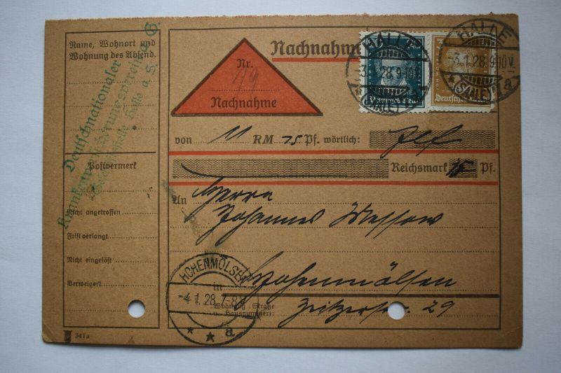 Ganzsache 1928 Nachnahme, Deutsches Reich, Stempel Halle Hohenmölsen