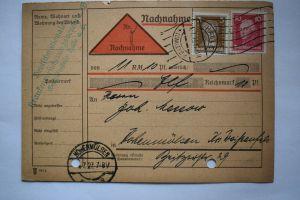 Ganzsache 1927 Nachnahme , Deutsches Reich, Stempel Halle und Hohenmölsen