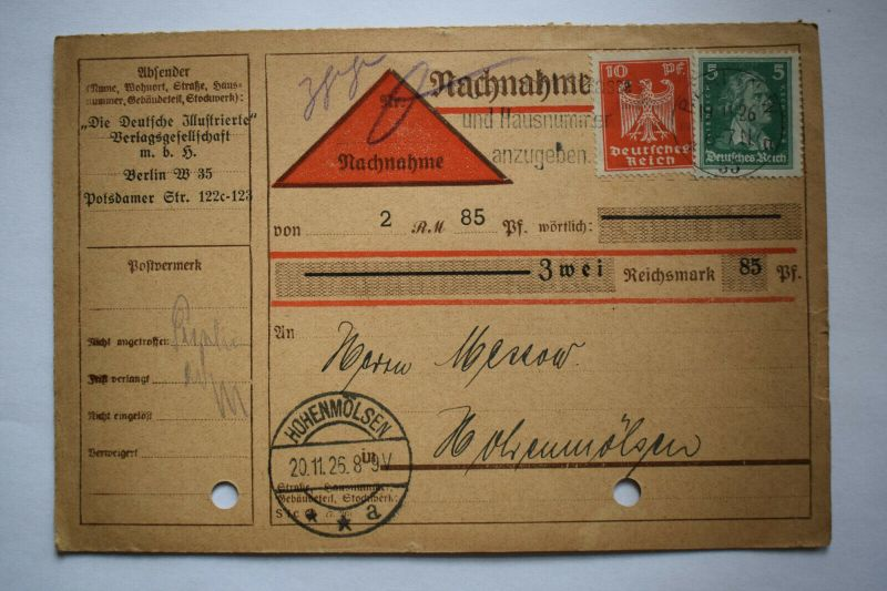 Ganzsache 1925 Nachnahme, Deutsches Reich, Stempel Halle Hohenmölsen