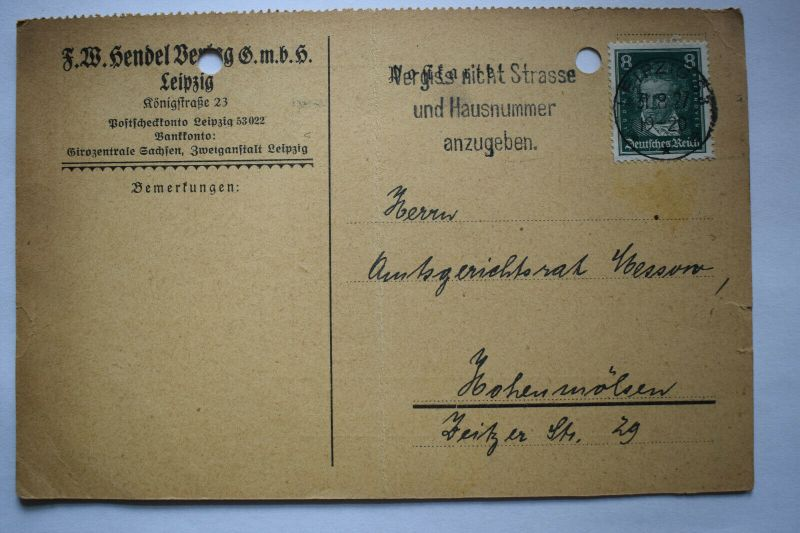 Ganzsache 1927 J.W.Hendel Verlag G.m.b.H. Leipzig, Deutsches Reich