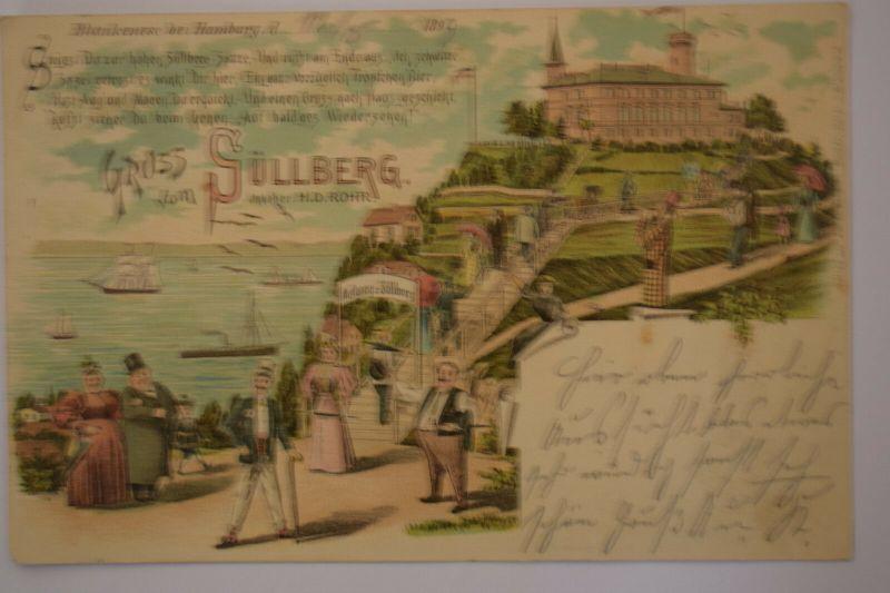 Ak  Blankenese bei Hamburg, Gruss vom Süllberg, 1899 gelaufen
