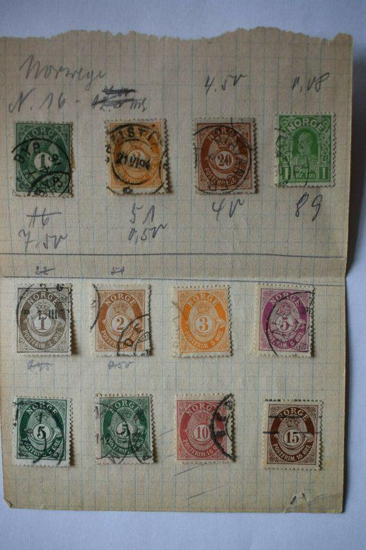 Briefmarken, Norwegen, gestempelt, mit Falz aufgeklebt