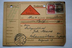 Ganzsache 1927 Nachnahme, Deutsches Reich, Stempel Halle Hohenmölsen