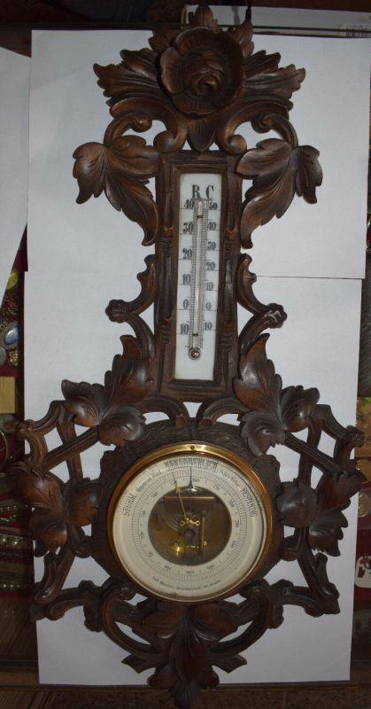 Barometer Thermometer, Holz geschnitzt, Carl Böttcher Strassberger Str.28 Berlin