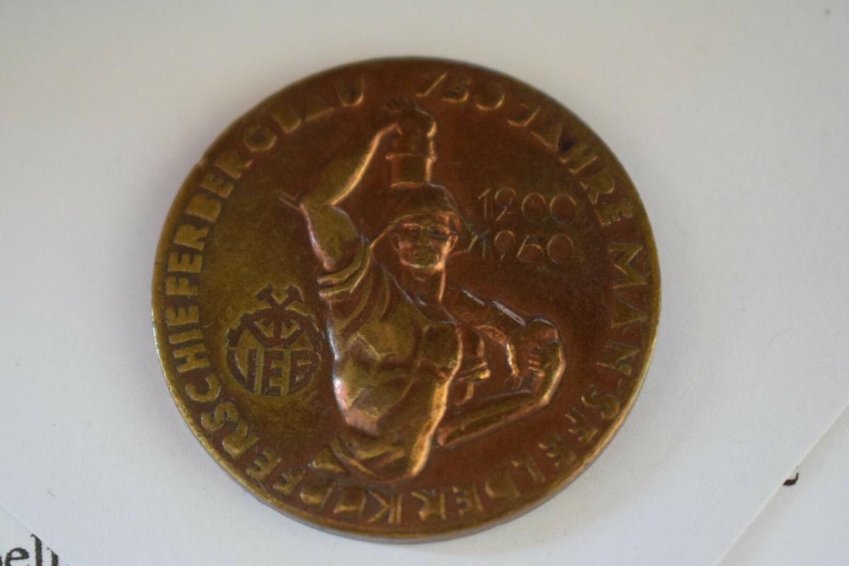 Medaille, 750 Jahre Mansfelder Kupferschieferbergbau 1950