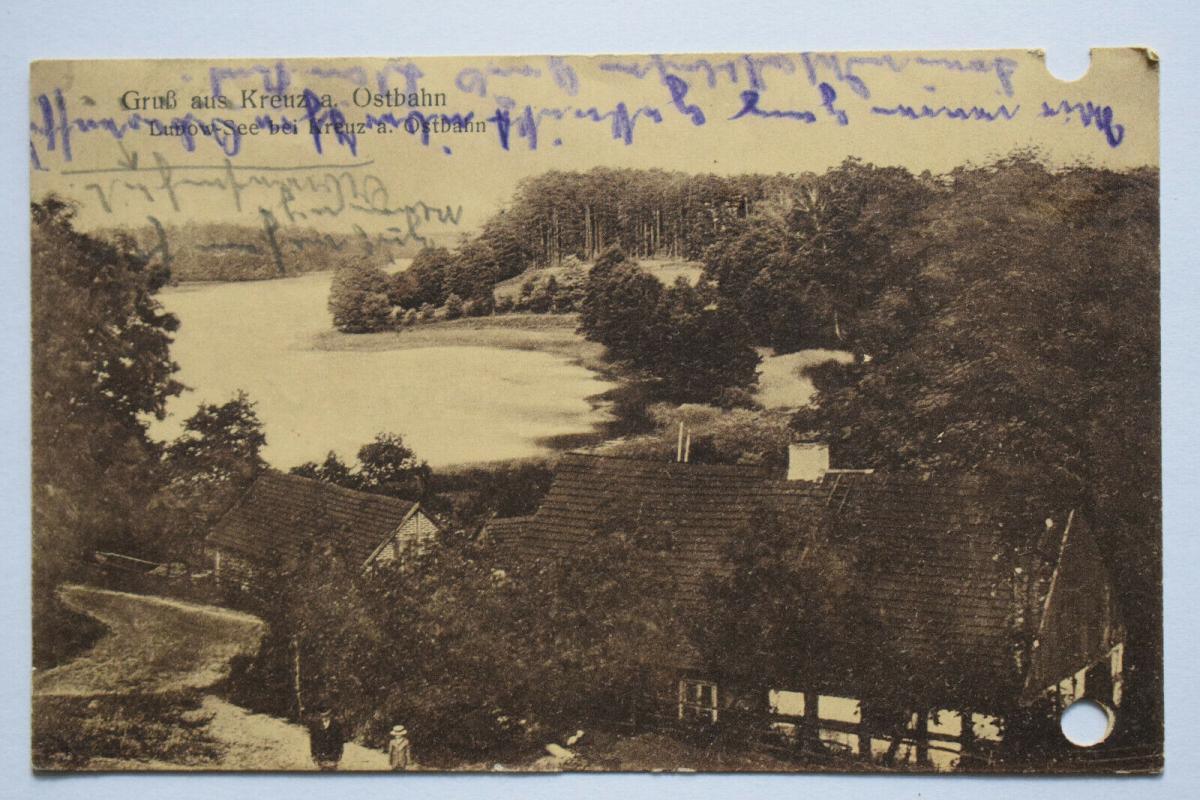 Ak Gruß aus Kreuz a. Ostbahn, Lubow-See bei Kreuz, 1916 gelaufen, gelocht