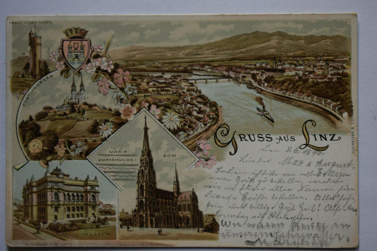 Ak Gruss aus Linz, Josef-Warte, Pöstlingberg, Museum, Dom, 1896 gelaufen