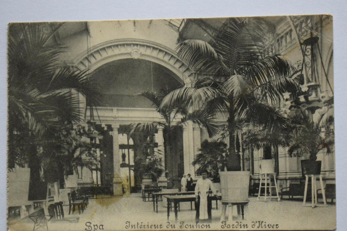 Ak Spa, Interieur du Jouhon, Jardin d`Hiver, 1915 gelaufen