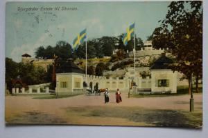 Ak Djurgärden, Entrén till Skansen, um 1920 gelaufen