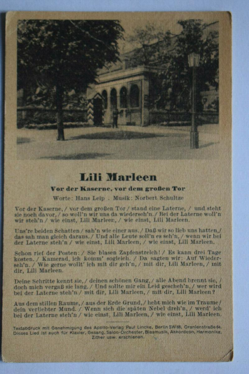 Ak Lili Marleen, Vor der Kaserne, vor dem großen Tor,  1944 gelaufen