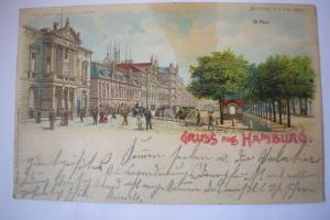 Ak Gruß aus Hamburg St. Pauli, 1899 gelaufen