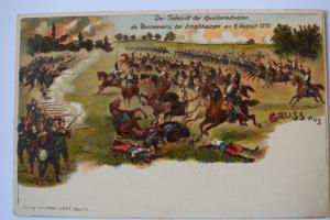 Ak Gruss aus Der Todesritt der Kavaleriedivision de Bonnemainz 1870 Elsasshausen