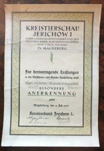 Kreistierschau Jerichow I, 1925 in Magdeburg, L. Maschinen, Brüning Wernigerode
