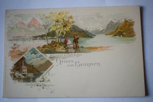 Ak Gruss aus Brunnen, Brunnen & Urner See, Tellskapelle, um 1900 nicht gelaufen