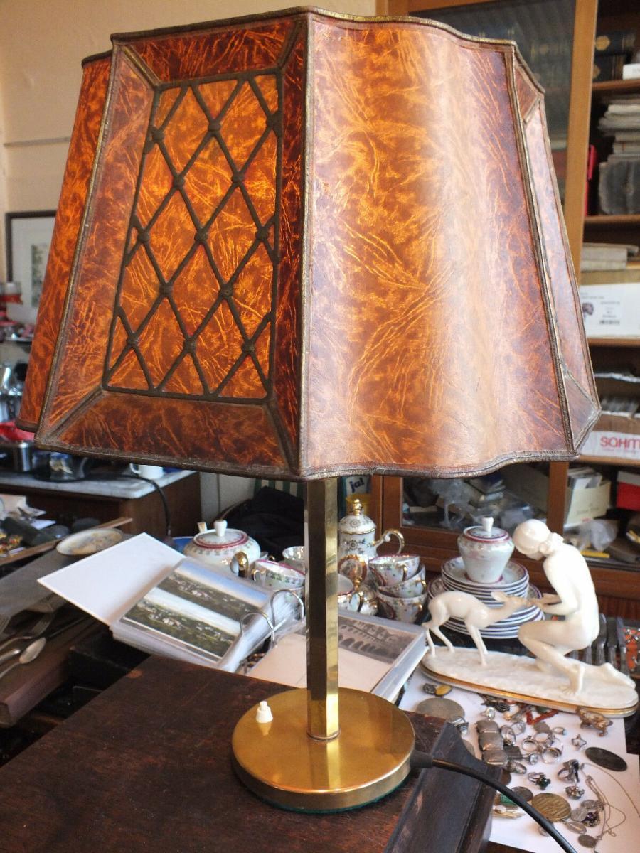 Wunderschöne Tischlampe, Messing, voll funktionstüchtig, um 1920 TOP! 10
