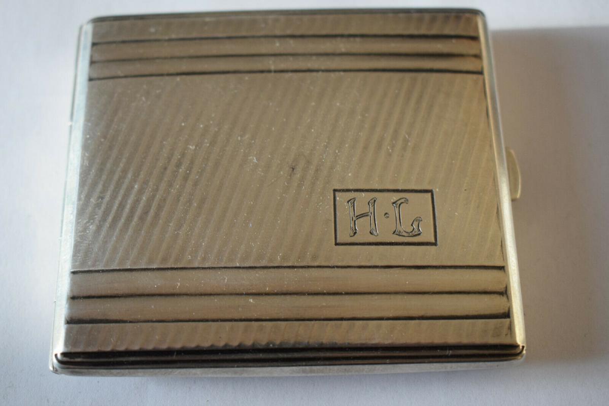 Zigarettenetui, Silber 835 Halbmond Krone, von 1941, Monogramm H L 0