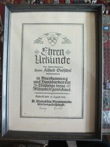 Alte Urkunde, Ehren-Urkunde, 25-jährige Mitarbeit Riebecksche Montanwerke Halle