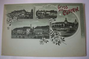 Ak Gruss aus Cüstrin, Mondscheinkarte um 1900 nicht gelaufen