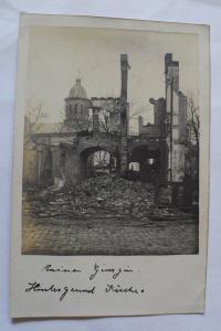 Ak Ruinen, Hintergrund Kirche 1917 gelaufen
