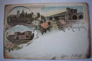 Ak Gruss aus Mannheim, um 1900 nicht gelaufen, Stadtpark mit Sternwarte