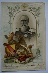 Ak Zum 50-jähr. Regierungsj. des Grossherzogs Friedrich von Baden, 1902 gelaufen