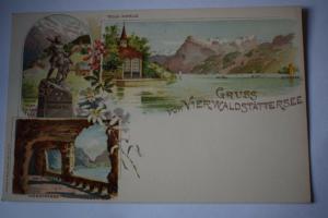 Ak Gruss vom Vierwaldstättersee, Tellskapelle, Axenstrasse, um 1900 nicht gel.
