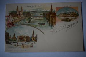 Ak Gruss aus Zürich, Paradeplatz, Bahnhof, Blick auf die Alpen, um 1900 n. gel.