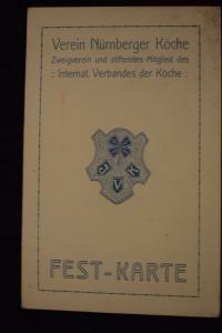 Festkarte Verein Nürnberger Köche, Winterfest und Gründungsfeier 1912