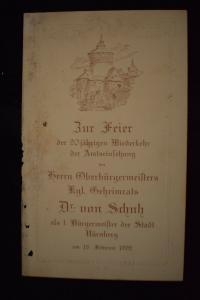 Zur Feier 1892 1. Bürgermeister der Stadt Nürnberg  Dr. von Schuh,