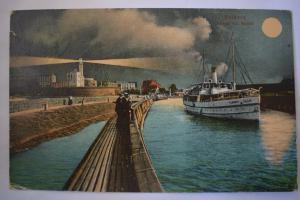 Ak Kolberg, Abend am Hafen, 1920 gelaufen