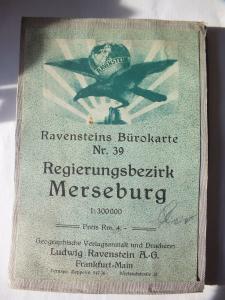 Landkarte, Regierungsbezirk Merseburg, Ravensteins Bürokarte 1:300000 um 1920