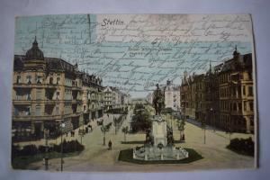 Ak Stettin, Szczecin, Kaiser Wilhelm Strasse, 1903 gelaufen, Riss oben mittig