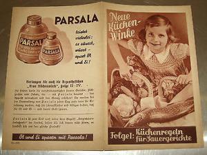 Werbeheft Neue Küchen-Winke, PARSALA, Rezeptheft mit Parsala, 8 S., um 1920