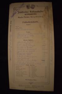 Rathauskeller Nürnberg, Frühstückskarte um 1911, Martin Fischer Weinhandlung