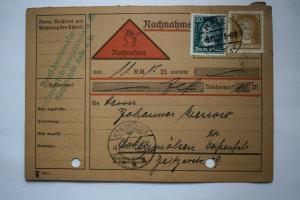 Ganzsache 1927 Nachnahme, Deutsches Reich, Stempel Halle und Hohenmölsen