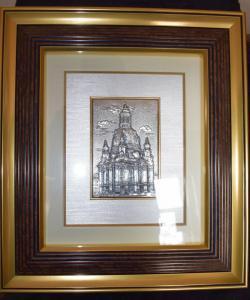 Bild Frauenkirche Dresden, Silber 925-er, 44cm x 38cm, RS & HS 1997, Top Zustand