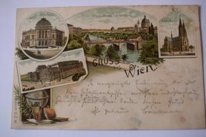 Ak Gruss aus Wien, Volkstheater, Votiv-Kirche , Uni, Elisabethbrücke,  1894 gel.