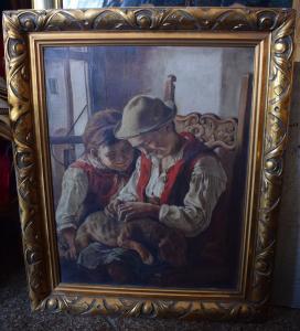 Schönes Bild, Öl auf Leinwand, 2 Kinder mit Hund, signiert um 1900