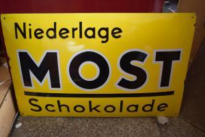 Altes Emailschild Most Schokolade Halle/Saale original TOP, Boos & Hahn