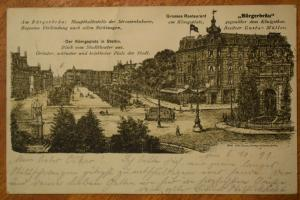 Ak Stettin, Der Königsplatz, Bürgerbräu Grosses Restaurant, 1899 gelaufen