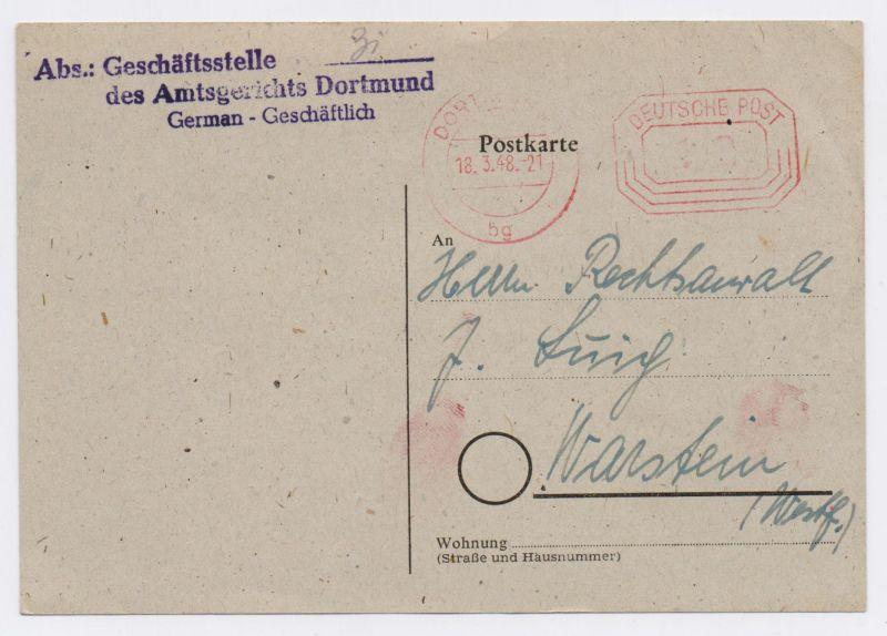 Bizone PK 12 Pfg AFS - Amtsgericht Dortmund nach Warstein 18.3.48