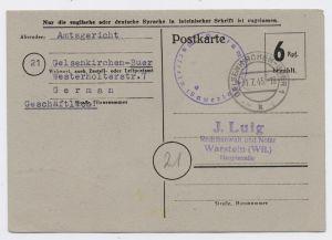 All. Besetzung Bizone P 675 GS Behelfsausgabe von GELSENKIRCHEN BUER nach WARSTEIN 31.7.45