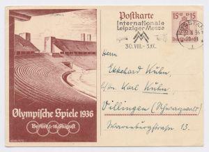 KONSTANZ Internationale Leipziger Messe 13.8.36, GS P 260 Olympische Spiele 1936