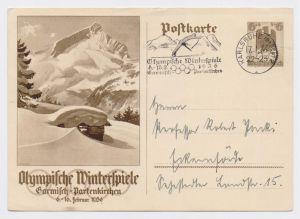 KARLSRUHE Olympische Winterspiele Garmisch-Partenkirchen 17.1.36, GS P 257, in seltener Kombination mit 3-zeiler Werbestempel