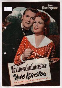 Original Filmprogramm Unser Hausprogramm Heideschulmeister Uwe Karsten. Ein Farbfilm in Eastmancolor Hans-Deppe-Farbfilm