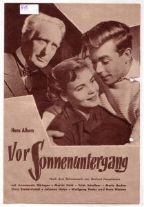 Original Filmprogramm Hans Albers Vor Sonnenuntergang. Nach einem Bühnenwerk von Gerhart Hauptmann