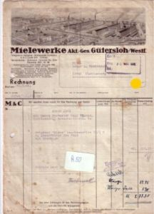 Rechnung Mielewerke Akt.-Ges. Gütersloh Litho vom Firmengelände 1946