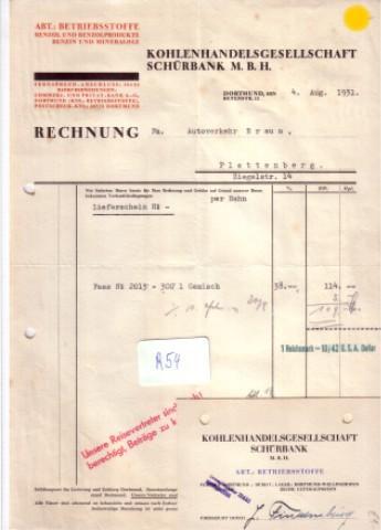 Rechnung Kohlenhandelsgesellschaft Schürbank M B H Dortmund 1931 Anbei Visitenkarte Schürbank