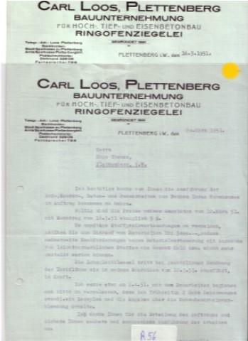 Rechnung Und Angebotsschreiben Carl Loos Plettenberg Bauunternehmung