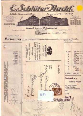 Konvolut E. Schlüter Nachf. Inh. Chr. Krause & Söhne Pelzwaren Göttingen Rechnung 2 Werbepostkarten 1938 Schlüter